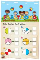Mathematics Worksheet Fractions Chapter with Picture vector