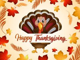 Happy thanksgiving turkey in autumn vector