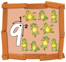 Nine frog on wooden banner