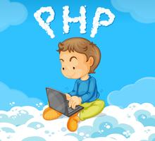 A boy coding PHP on cloud