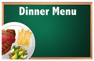 A Dinner Menu on Chalk Board Template vector