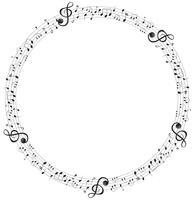 Musiknoten auf runden Skalenrahmen