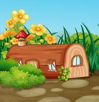 Casa de madeira encantada na natureza