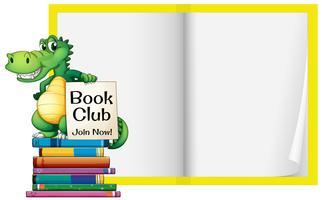 En tom bok med krokodilmall