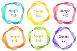 Sechs quadratische Buttons in verschiedenen Farben