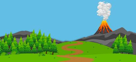 Bakgrundsscen med vulkan och skog