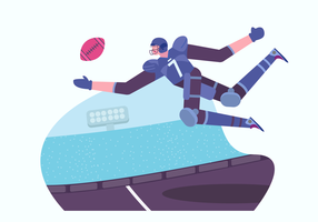 American Football Player Character vector Illustration