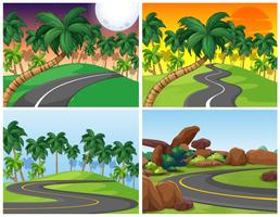 Four background setting with empty roads