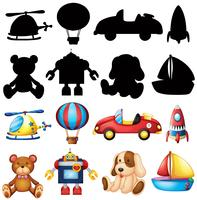 Cute toys and silhouette on white background