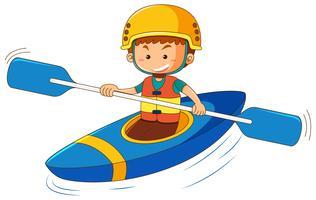 Menino, em, azul, canoa