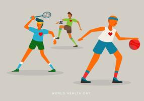 People Doing Sports on World Health Day Vector Illustration