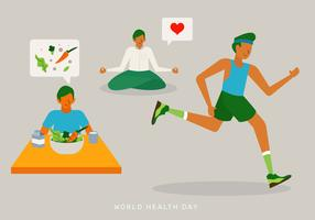 Healthy Life Daily Activity Vector Illustration