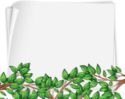 Tree branch on blank paper template