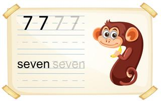 Cute monkey number seven