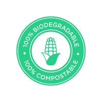 100% Biodegradable and compostable icon. Bioplastic made of corn.