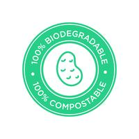 100% Biodegradable and compostable icon. Bioplastic made of potato.