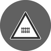 Vector Level crossing (with gate) Road Sign Icon