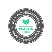 Plastic free. 100% Biodegradable and compostable icon.