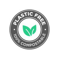 Plastic free. 100% Compostable icon.