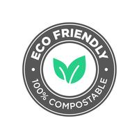Eco Friendly. 100% Compostable icon.