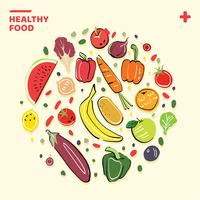 Healthy Food hand-drawn illustration