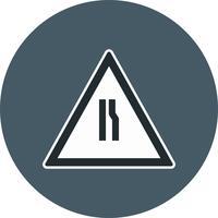 Route de vecteur se rétrécit sur l'icône de panneau de signalisation de droite