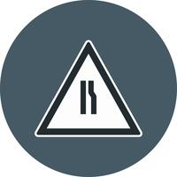 Vector Road estreita-se no ícone de sinal de estrada direita