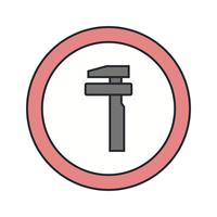 Vektor avbrott Service Road Sign Icon