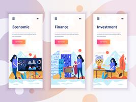 Set of onboarding screens user interface kit for Economics, Finance, Investment, mobile app templates concept. Modern UX, UI screen for mobile or responsive web site. Vector illustration.