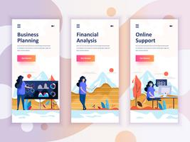Set of onboarding screens user interface kit for Planning, Financial Analysis, Support, mobile app templates concept. Modern UX, UI screen for mobile or responsive web site. Vector illustration.