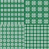 green and white nordic snowflake patterns