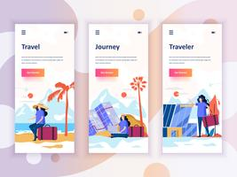 Set di kit di interfaccia utente per schermi onboarding per Travel, Journey, Traveler, concept di modelli di app per dispositivi mobili. UX moderno, schermo dell'interfaccia utente per sito web mobile o reattivo. Illustrazione vettoriale