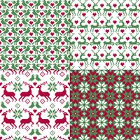 seamless nordic reindeer and bird patterns