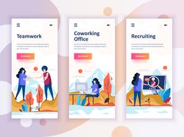 Set of onboarding screens user interface kit for Teamwork, Coworking Office, Recruiting, mobile app templates concept. Modern UX, UI screen for mobile or responsive web site. Vector illustration.