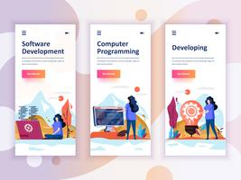 Set van onboarding schermen gebruikersinterfacekit voor ontwikkeling, programmering, ontwikkeling, mobiele app sjablonen concept. Modern UX, UI-scherm voor mobiele of responsieve website. Vector illustratie.