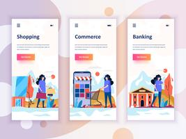 Set di kit di interfaccia utente per schermi onboarding per Shopping, E-commerce, Banking, concetto di modelli di app per dispositivi mobili. UX moderno, schermo dell'interfaccia utente per sito web mobile o reattivo. Illustrazione vettoriale