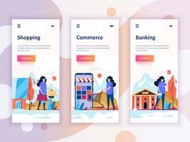 Set di kit di interfaccia utente per schermi onboarding per Shopping, E-commerce, Banking, concetto di modelli di app per dispositivi mobili. UX moderno, schermo dell'interfaccia utente per sito web mobile o reattivo. Illustrazione vettoriale