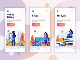 Set di kit di interfaccia utente per schermi onboarding per Education, School, Studying, concept di modelli di app per dispositivi mobili. UX moderno, schermo dell'interfaccia utente per sito web mobile o reattivo. Illustrazione vettoriale