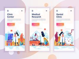 Conjunto de kit de interface de usuário de telas onboarding para medicina, pesquisa, clínica dentária, o conceito de modelos de aplicativo móvel. Modern UX, tela de interface do usuário para site móvel ou responsivo. Ilustração vetorial