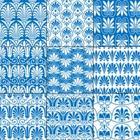 blue and white seamless classical greek patterns