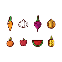 Outlined Vegetables  vector
