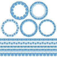 blue Greek ornamental circle frames and border patterns