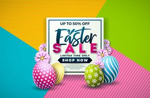 Easter Sale Illustration with Color Painted Egg and Spring Flower on Colorful Background.