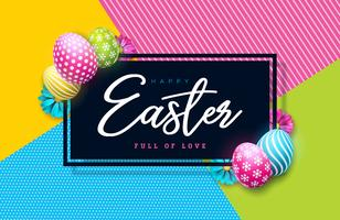 Vector Illustration of Happy Easter Holiday with Painted Egg and Spring Flower