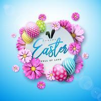 Glad påskferiedesign med målade ägg och vårblomma på blå bakgrund.