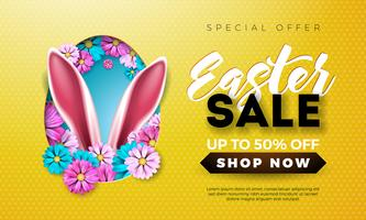 Easter Sale Illustration with Spring Flower and Rabbit Ears on Yellow Background.