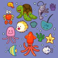 Los animales marinos vector plantas acuáticas peces marinos dibujos animados ilustración agua submarina vida marina con carácter acuático.