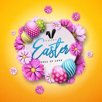 Happy Easter Holiday Design with Painted Egg and Spring Flower on Yellow Background. vector