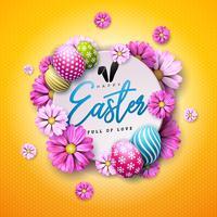 Glad påskferie med målat ägg och vårblomma på gul bakgrund.