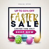 Easter Sale Illustration with Color Painted Egg on White Background.